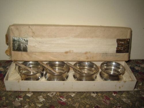 Vintage Sterling Silver Salt Bowls & Spoons in Box PALMER HOUSE Chicago