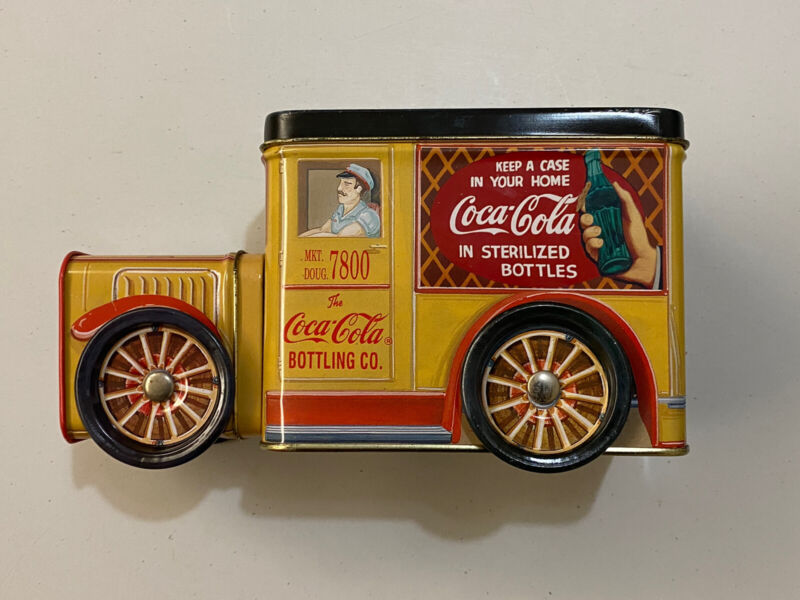 Vintage Coca Cola Delivery Truck Collectible Tin W/Opening Lid & Moving Wheels
