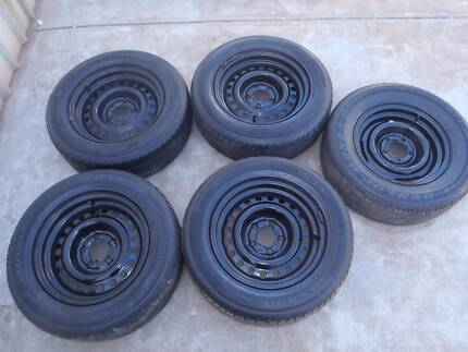 steel rims and tires