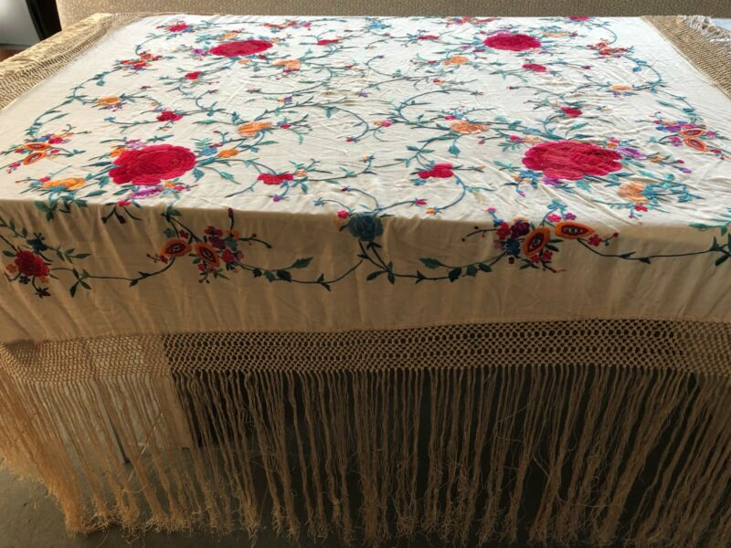 large antique vintage silk hand embroidered piano shawl reversible