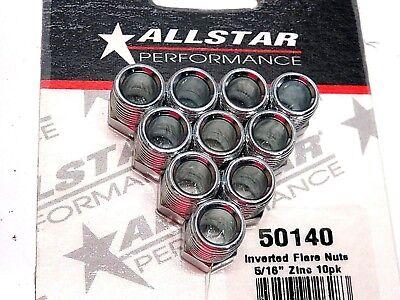 AllStar 516 Brake Line Inverted Flare Nut 12  20 Fitting Steel 10 Pack