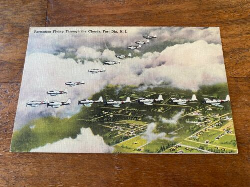 WW2 Linen Postcard UNUSED formation flying through the clouds Fort Dix, NJ