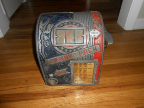 Antique Daval Penny Pack Three Reel Trade Stimulator Slot Machine PARTS REPAIR