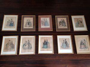 10 Original 19th C.  French framed handcoloured Fashion Prints Mosman Mosman Area Preview