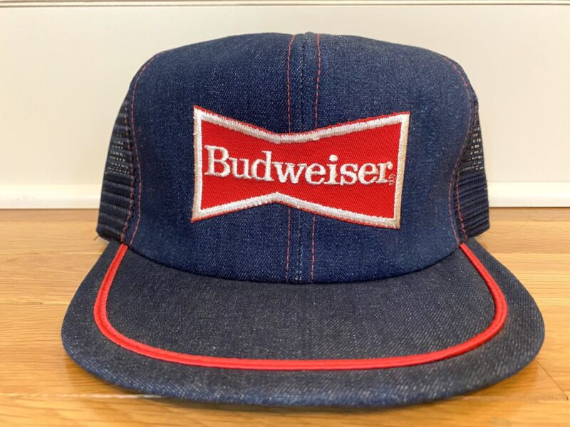 NEW VINTAGE Budweiser Trucker Hat Denim Snapback Sewn Patch Cap 80s MADE IN USA