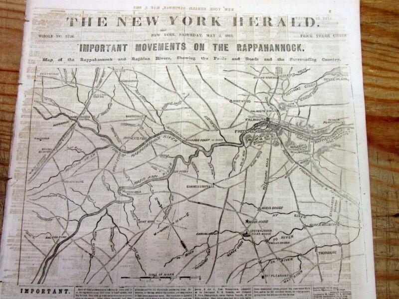 1863 Civil War headlne newspaper w Large MAP BATTLE of CHANCELLORSVILLE Virginia