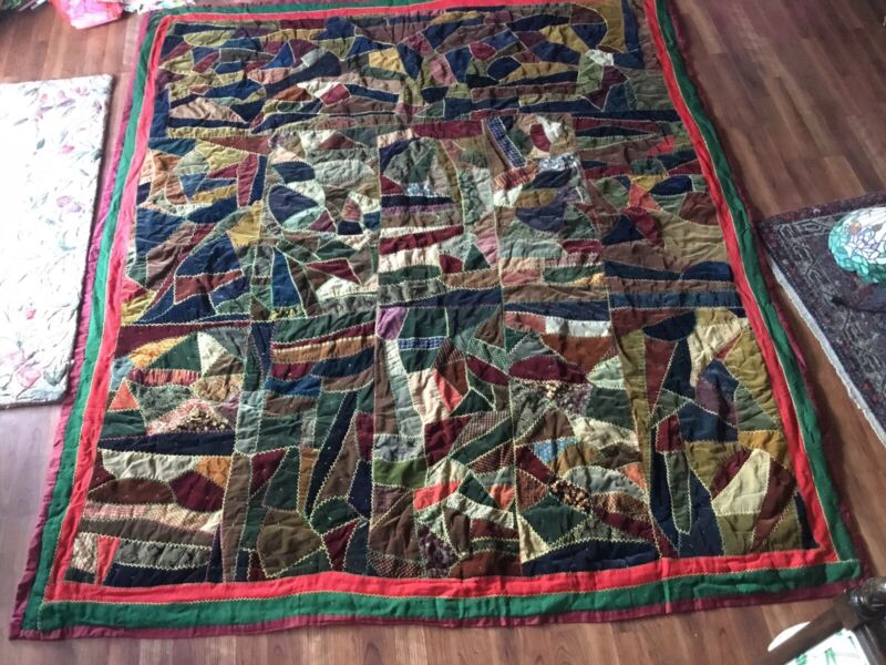 Antique Vintage Victorian Crazy Quilt Stitches Velvets Nice Pattern Heavy 89x77