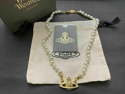 NIB Vivienne Westwood Gold Pearl mini Orb Chocker Necklace