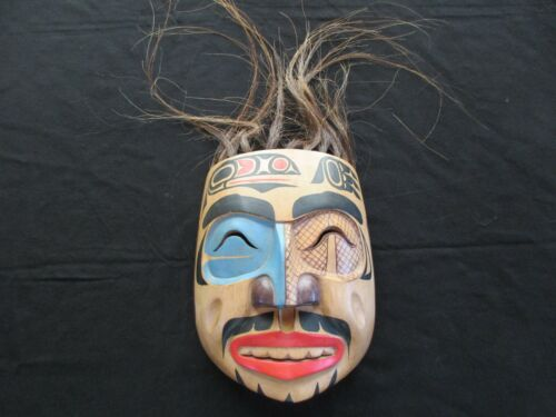 """CLASSIC NORTHWEST COAST DESIGN LARGE CARVED MASK WITH HAIR, """"ANCESTOR""""  WY-04663"""
