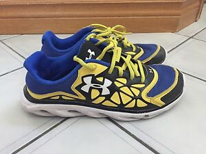 Under Armour blue and yellow shoes