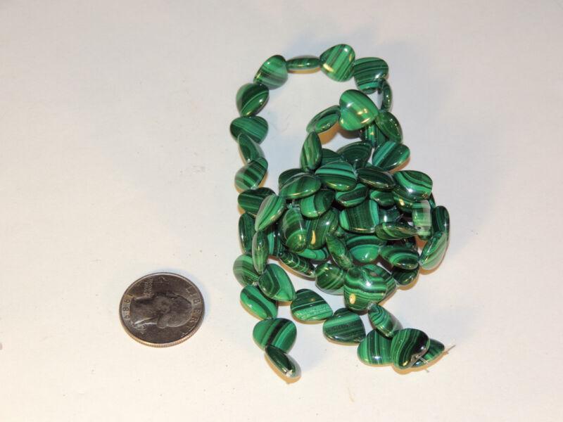 Malachite Drilled 12mm Heart Beads (2405)