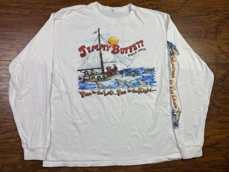 Jimmy Buffett Finland 2011 Tour White Long Sleeve T-Shirt Men's XL White F2