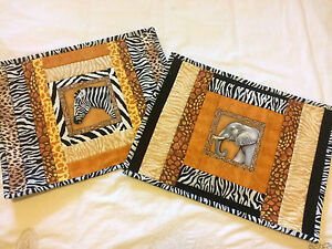Placemats, Handmade, Patchwork, African Safari Theme - # 11 Cleveland Redland Area Preview