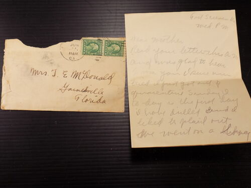 WW1 Letter Home to Moma 1917 Fort Screven GA  Just out of Quarantine