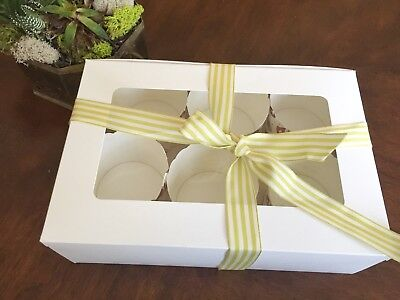 White Cupcake Muffin Boxes / holds 6 /Window+Inserts | pack of 6 (Cupcake Inserts)
