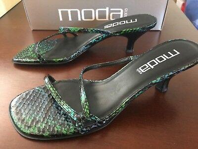 Moda Spana Semi-Gloss Snake Print Strappy Sandal Size 8
