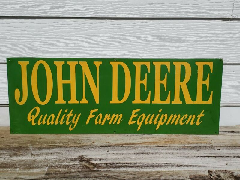 "Vtg Early John Deere Metal Sign Farm Tractor 32"" x 11"" Advertising Agriculture"