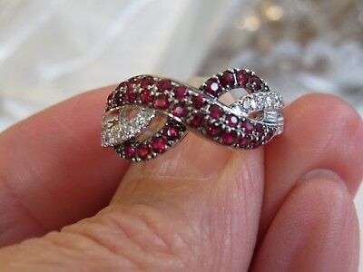 LeVian 14K WHITE GOLD DIAMOND & RUBY CROSSOVER BAND RING SZ 7 9 MM WIDE