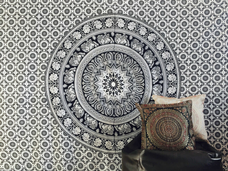 Black & White FE Indian Mandala Tapestry