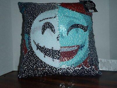 Nightmare Before Christmas Disney Jack Sally Sequin Pillow Skellington Halloween ()
