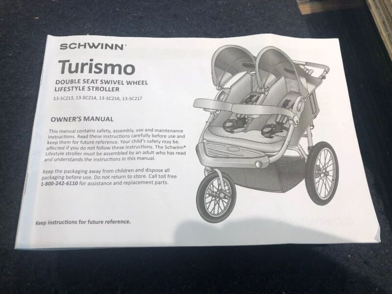 Used Manual, Strap, Padding And Cover For Childs Stroller Schwinn Turismo