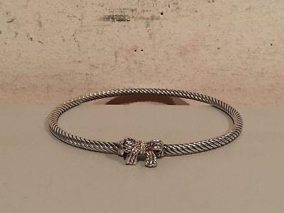 Diamond Bow Bangle Bracelet (DAVID YURMAN BOW DIAMOND STERLING SILVER BANGLE BRACELET BRAND NEW WITHOUT)