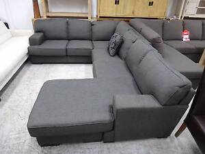 BETTY FABRIC CORNER SOFA w/ CHAISE - FURNITURE CLEARANCE SHOWROOM Richmond Yarra Area Preview