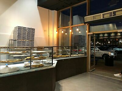 Pizza Display Case Glass Framed Stainless Steel Sneeze Guard Angle End W Shelf