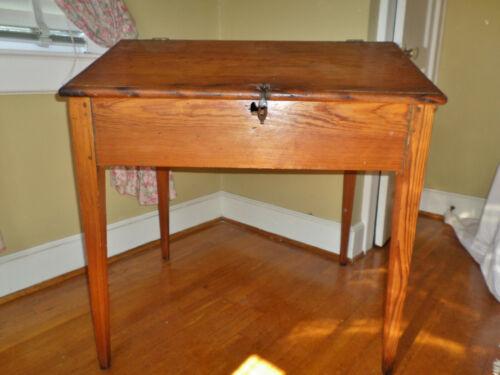 Antique Rare Early American Primitive Southern Pine Slant Top Desk