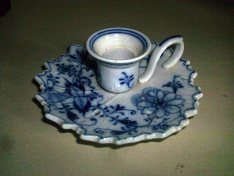 Antique Porcelain Chamber Stick Candlestick Blue Onion White Candle Holder 19th