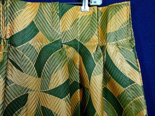 Vintage Mid Century Modern Fiberglass Curtains 2 Panels Green/Gold  NOS Unused