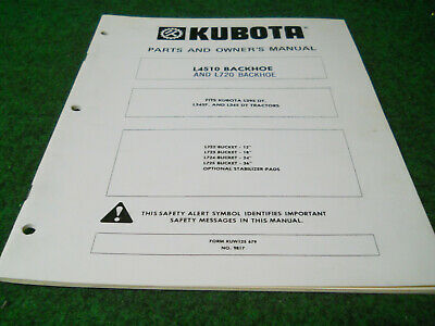 Kubota L4510 Backhoe Owners Manual Fits L295dt L345f L345dt