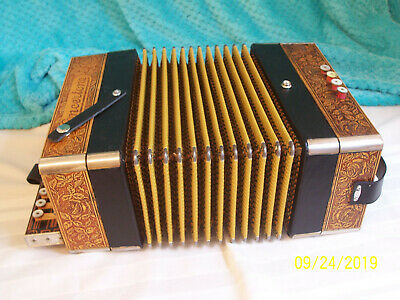 Concertone 1 row Accordion Button Box Accordian Hohner Germany D key Rebuilt