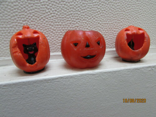 Halloween  Candle, Wax Jack o lanterns , Party Favor lot of 3 (CC4)