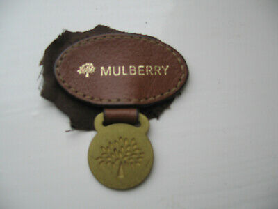 Vintage genuine Mulberry BRASS TAG WITH SERIAL NUMBER WITH LEATHER LOGO IN OAK
