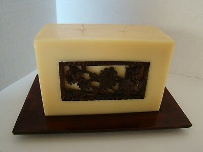 2-Wick Brick Candle On Ceramic Tray