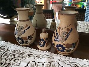 Sandstone, hand painted pottery 2 vases & 1 bell- Mexico