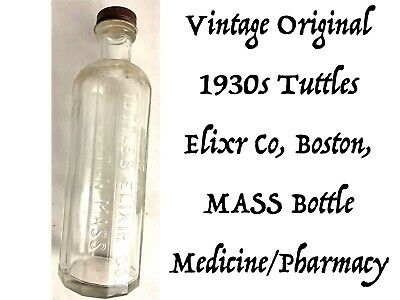 Vtg Original Tuttles Elixir Co Pharmacy Ad Collectible Cobalt Blue Glass 1930s