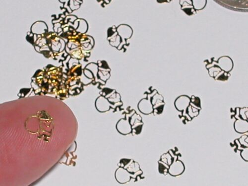 25pc Tiny Christmas Santa bendable Metal lot charm golden fairy dust findings NW