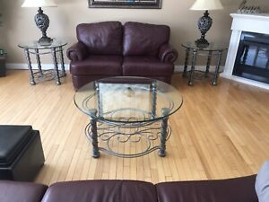 3 piece beveled glass coffee table set
