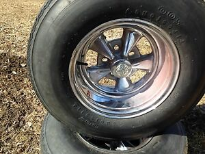 Vintage bais ply tires and mags Cragars