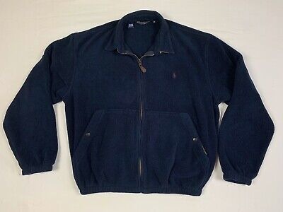 Vintage Polo Ralph Lauren Fleece Jacket Made in the USA Full Zip Navy Blue EUC