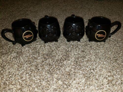 Lot 4 Harley-Davidson Vintage 1983 HOG Shaped Coffee Cup Mug 14 Ounce