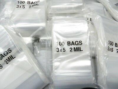 1000 White Block Ziplock Bags 3x5 Reclosable Poly 2mil 3