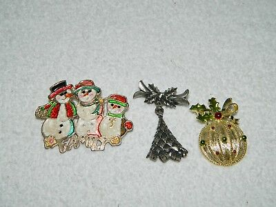 Lot of 3 Christmas Holiday Snowman Family Tree & Ornament Brooch Pin #G4