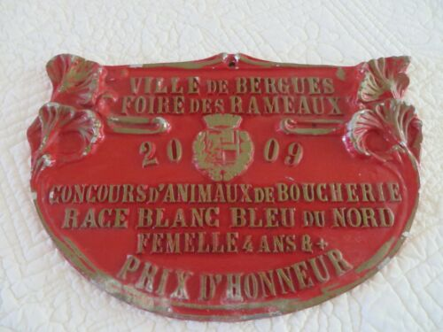 VINTAGE FRENCH METAL PLAQUE SIGN AWARD FRENCH LIVESTOCK COMPETITION AGRICULTURE
