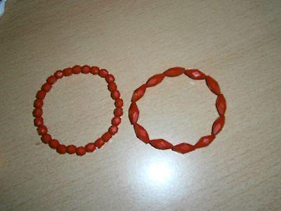2 rote dehnbare Armbänder - Modeschmuck - NEU UND UNGETRAGEN