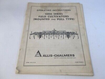 Allis-chalmers 1000 Series Field Cultivator Mounted Pull Type Operators Manual