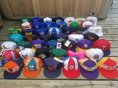 45 Vintage Snapback Hat Lot 80s 90s Sports MLB NFL NBA & More / Many w/ Tags