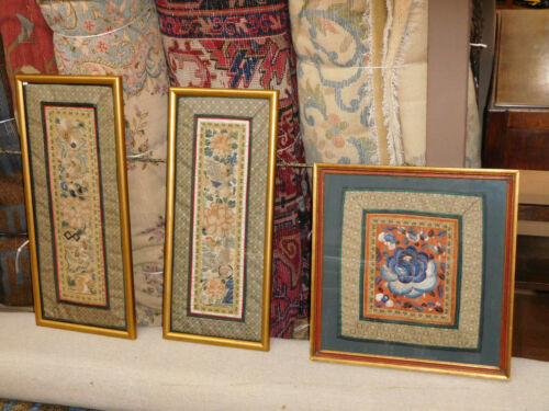 Antique Chinese Embroidered Silk Panels Framed Embroideries Three pieces foo dog